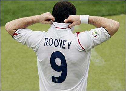 Wayne Rooney comes on as a sub for England