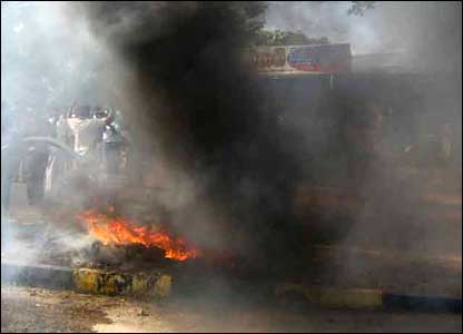 Villagers burn tyres to demand more protection from the government