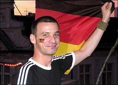 Sascha, a local from Berlin on the terrace of a World Cup party