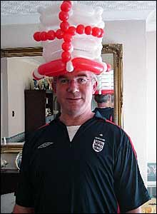 England supporter in balloon hat