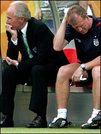 Eriksson and his assistant Steve McClaren appear at a loss to know what to do
