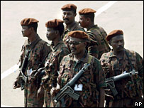 Presidential guards in Juba, southern Sudan 6 August 2005