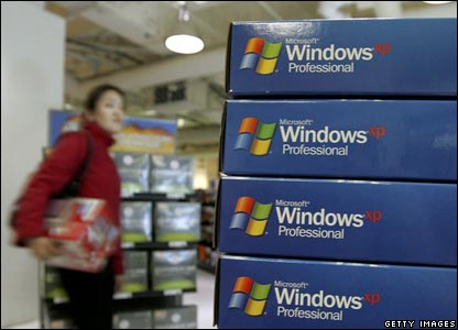 A stack of Windows XP boxes