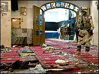 Iraq's Buratha mosque after suicide bombing on 16 June 2006