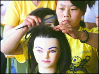 Trainee hairdressers at a centre near Beijing (Photo: Jonathan Lewis)