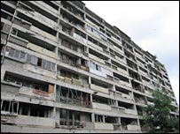 A bombed-out block of flats in Grozny