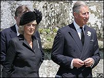 The Prince of Wales and the Duchess of Cornwall arrive for the funeral