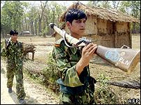 Maoist rebels in Siti Mahakali, Nepal