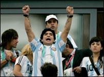 Argentina legend Diego Maradona in Gelsenkirchen