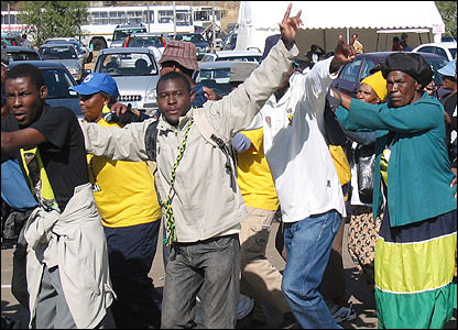 Young people march to mark the 30th anniversary of the Soweto uprising.