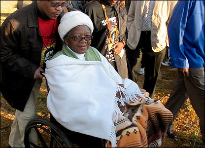 Nomkitha Mashinini at the opening of a memorial to her son.