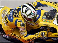 Valentino Rossi on a Yamaha