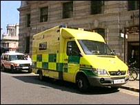 Ambulance outside Bank station