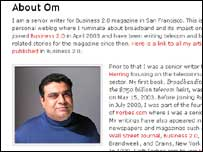 Screengrab of Om Malik's biography, Business 2.0
