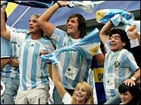 Diego Maradona (right) revels in Argentina's latest victory
