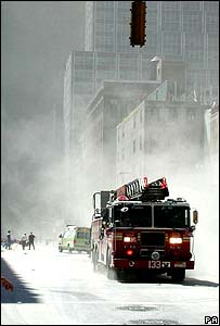 Fire engines at the Twin Towers in New York after the 9/11 attacks