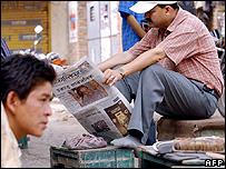 Nepali reading the newspaper