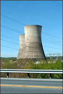 Cooling towers at Three Mile Island reactor