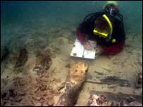 Divers at the site of one of the newly-discovered shipwrecks