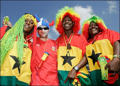Fans of Ghana and the Czech Republic mingle ahead of the game