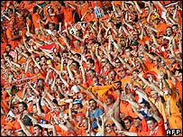 Dutch fans watch Ivory Coast match