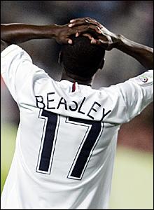 DaMarcus Beasley reacts after seeing his goal ruled out for offside