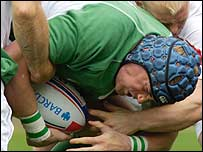 Jamie Heaslip tries to break through the England line