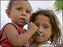 Young children at a displaced persons' camp in East Timor