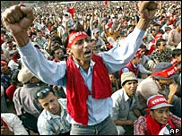 Victory rally in Nepal in April