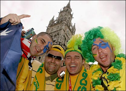 Four Australia fans shows their support in the city of Munich
