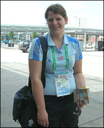 Fan embassy volunteer Silke Meye, from Mannheim, outside Kaiserslautern station