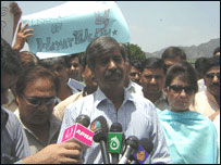 Journalists protesting against Hayatullah Khan's death