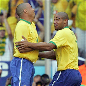 Ronaldo celebrates Adriano on his opening goal against Australia