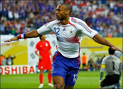 Thierry Henry celebrates scoring France's opener against South Korea