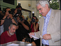 Presidente de Catalu�a, Pasqual Maragall, durante las pasadas elecciones.