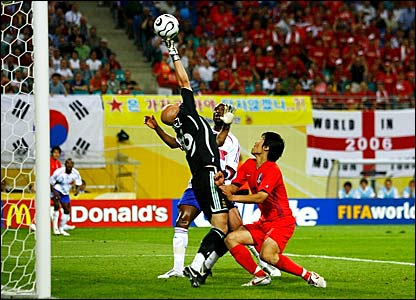 France goalkeeper Fabien Barthez (left) is beaten by Park Ji-Sung's shot
