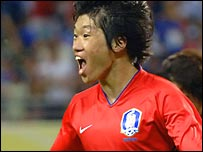 South Korean midfielder Park Ji-sung celebrates after scoring