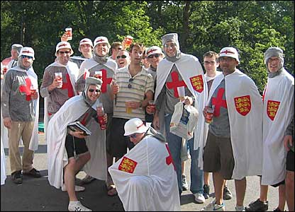 England fans dressed as knights out in Germany for the World Cup