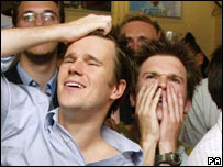 Men watching the World Cup
