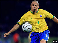 Brazilian forward Ronaldo at the World Cup