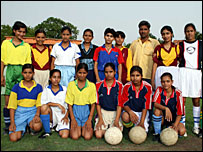 Girls football team in Bihar