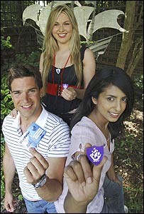 Blue Peter presenters with the new badges