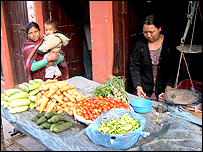 A vegetable seller in Lalitpur, Kathmandu