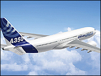 Artists impression of the A350 plane