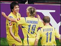 Ukraine celebrate the opening goal