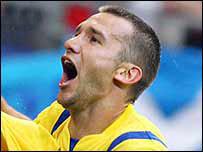 Andriy Shevchenko scored Ukraine's third goal
