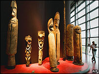 19th century Dance sculptures from Malekula Island inside the Musee du Quai Branly in Paris