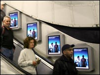 LCD screen advertisements on Tube escalators