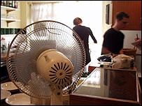 Fan in a kitchen (Image: BBC)