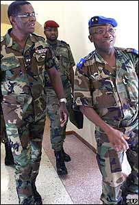 Gen Mangou Philippe, chief-of-staff of forces loyal to President Gbagbo, and Gen Soumahila Bakayoko, chief-of-staff of the rebel New Forces